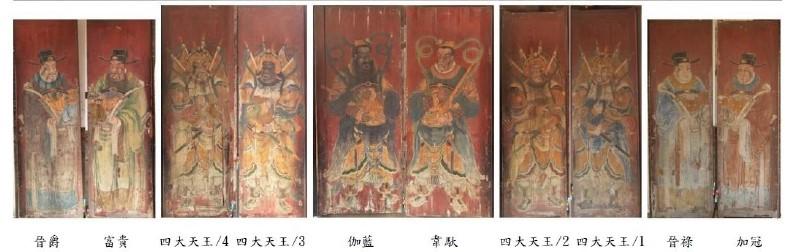 國定古蹟鹿港龍山寺-郭新林彩繪門扇五門10扇